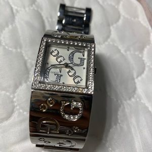 Silver square Guess women's watch